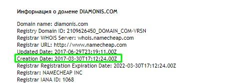 Дата регистрации домена