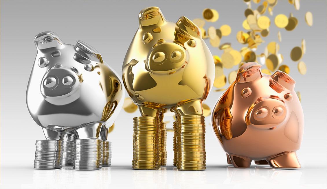 Свинки-копилки из разных металлов
