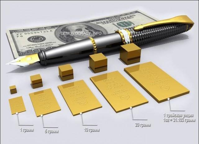 Размер золотых слитков