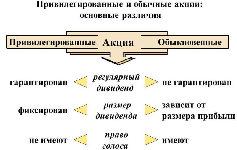 Плюсы и минусы акций в зависимости от вида